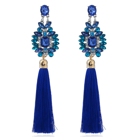 Luxury Handmade Dark Blue Bohemian Style Earrings