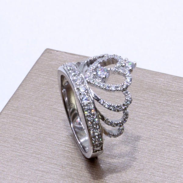 Genuine S925 Sterling Silver Zircon Crown Ring