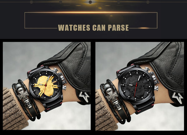 Creative Skull Leather Band Watch