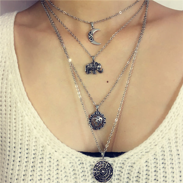Bohemian Style Long Layered Chain Necklace