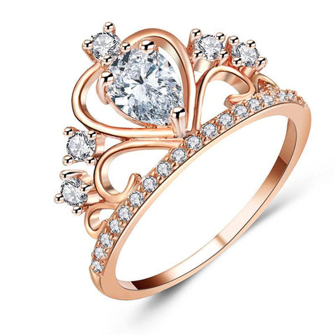 Elegant Plated Crown-Shape Ring
