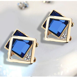 New Fashion Square Blue Crystal Gem Stud Earrings