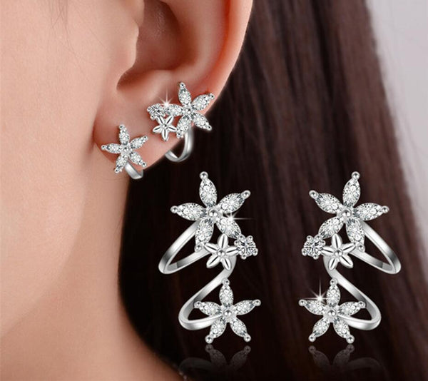 Very Stylish Flower Shape S925 Sterling Silver Earrings