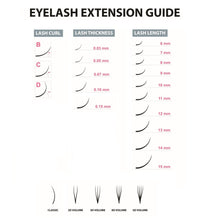 Laden Sie das Bild in den Galerie-Viewer, Extensions de cils guide des tailles -  lashshop.ch magasin en Suisse