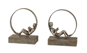 Lounging Reader Bookends S/2