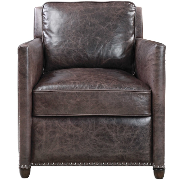 Roosevelt Leather Club Chair Smoke