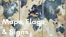 maps signs and flags wall art