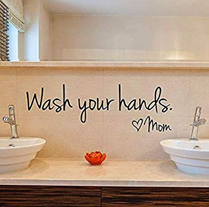 wash your hands bathroom wall sticker