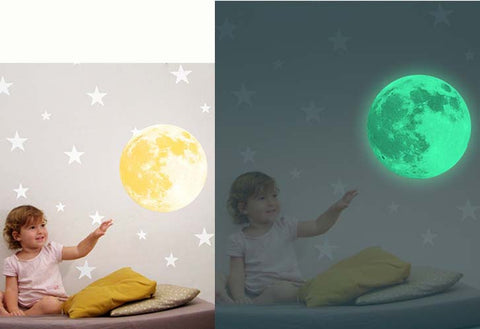 glow in the dark moon wall sticker on kids bedroom wall
