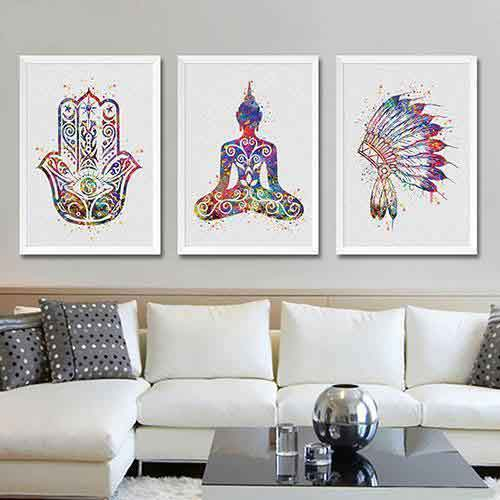 Hamsa hand, Buddha wall art, Indian war bonnet - 3 set above living room sofa