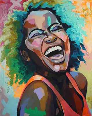 Black women laughing art | graffiti-style canvas print | www.wallart.biz