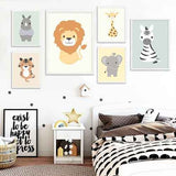 6 set of animal wall art nursery | kids room baby wild animals