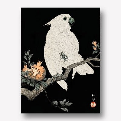 Ohara Koson -Cockatoo and pomegranate 1 | Free USA Shipping| www.wallart.biz
