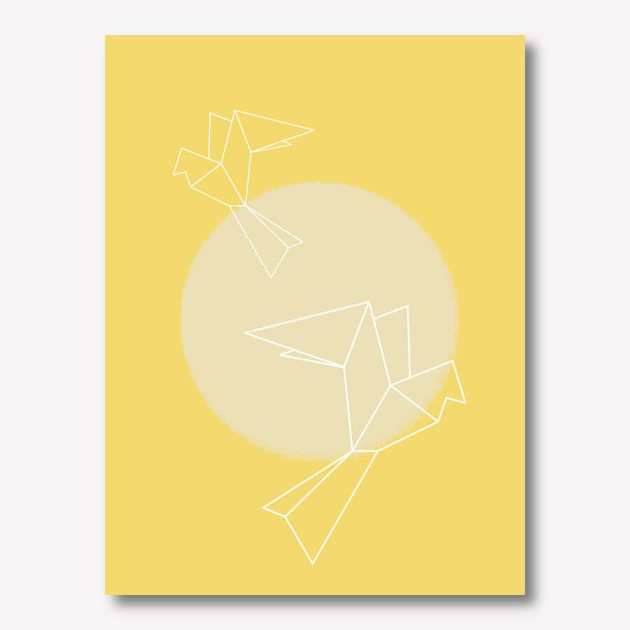Doves with Sun yellow canvas artwork | FREE USA SHIPPING | www.wallArt.Biz