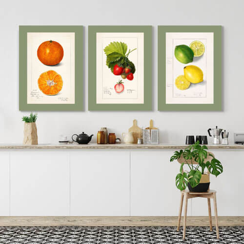 Vintage Watercolor kitchen Fruit Art | FREE USA SHIPPING | www.WallArt.Biz