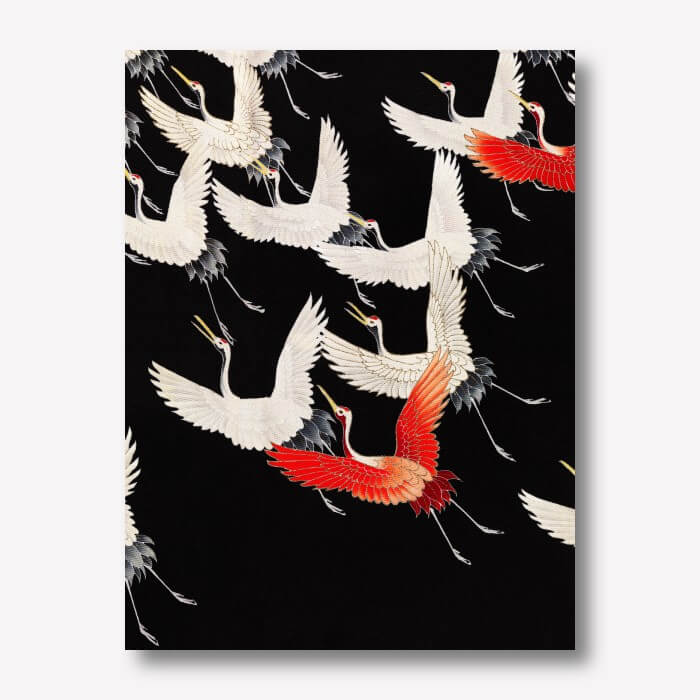 Furisode with a Myriad of Flying Cranes | FREE USA SHIPPING | WallArt.Biz