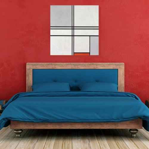 Piet Mondrian, Gray-Red bedroom art Bedroom artwork | FREE USA SHIPPING | www.WallArt.Biz