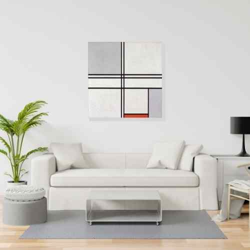 Piet Mondrian, Gray-Red Living Room art | FREE USA SHIPPING | www.WallArt.Biz