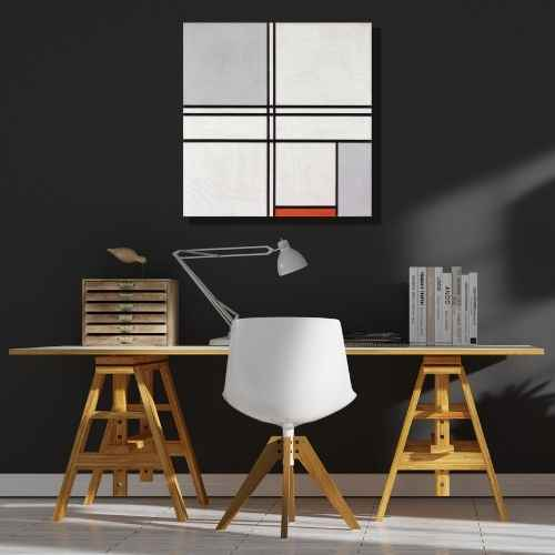 Piet Mondrian, Gray-Red | Home office artwork | FREE USA SHIPPING | www.WallArt.Biz