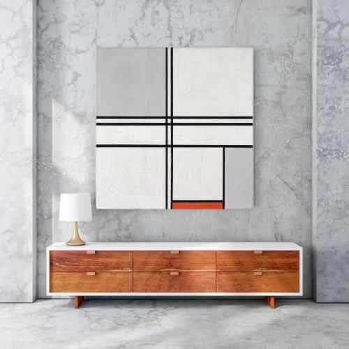 Piet Mondrian, Gray-Red | FREE USA SHIPPING | www.WallArt.Biz