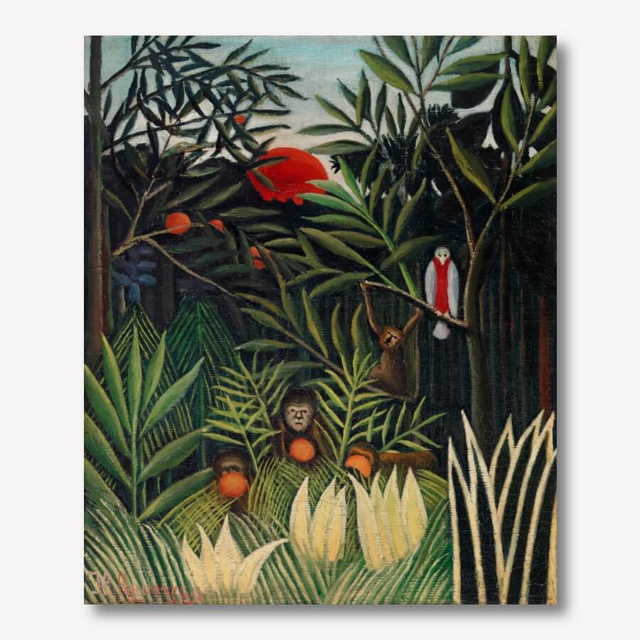 Henri Rousseau - Monkeys and Parrot in the Virgin Forest  | FREE USA SHIPPING | WallArt.Biz