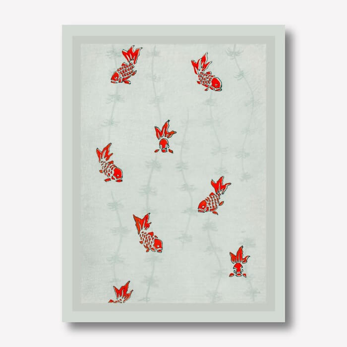 Seamless goldfish Canvas Print  by Watanabe Seitei | FREE USA SHIPPING | WallArt.Biz