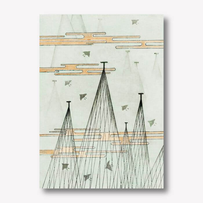 Skyscape with birds artwork flying by Watanabe Seitei | FREE USA SHIPPING | WallArt.Biz