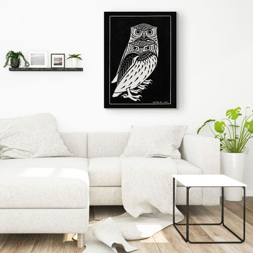 Two owls living room artwork - Julie de Graag | FREE USA SHIPPING | WallArt.Biz