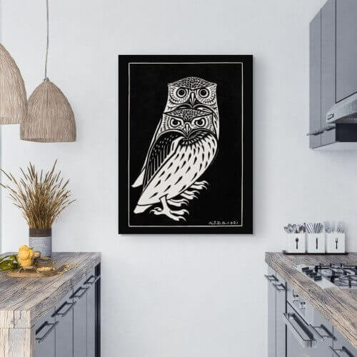 Two owls kitchen art prints - Julie de Graag | FREE USA SHIPPING | WallArt.Biz