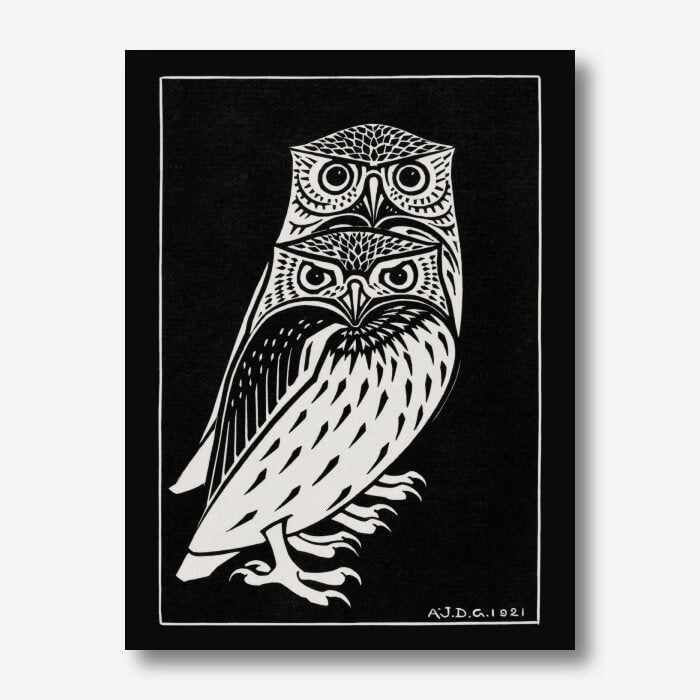 Two owls wall art - Julie de Graag | FREE USA SHIPPING | WallArt.Biz