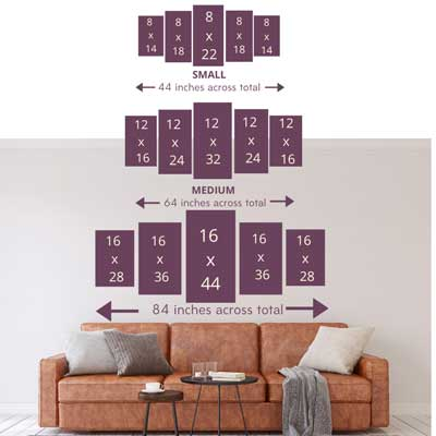 WALL ART SIZE GUIDE | free usa shipping | www.wallart.biz