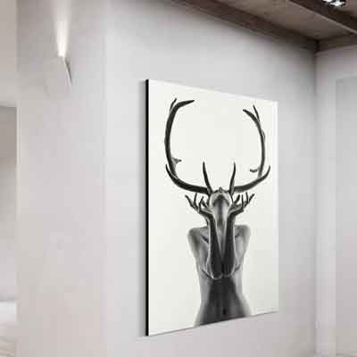 Bare skinned Lady Antlers Canvas Print - Free US Shipping - www.wallart.biz