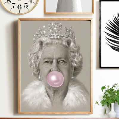 Queen Elizabeth Bubblegum Wall Art | Free USA Shipping | www.WallArt.Biz