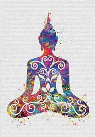 Buddha water color canvas print - Multicolored on White back ground