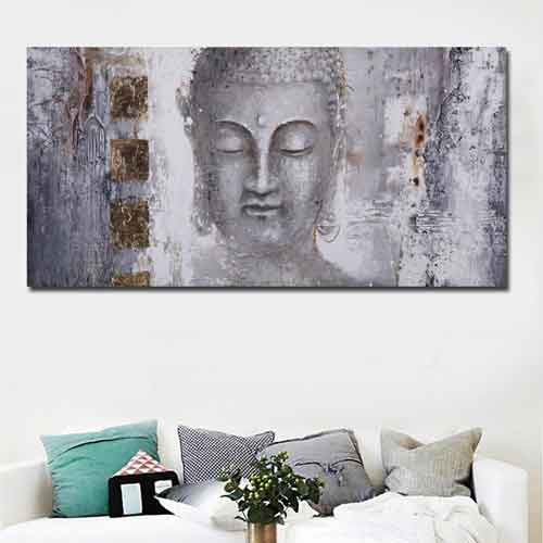 Large Buddha Wall Art above White Sofa |www.wallart.biz