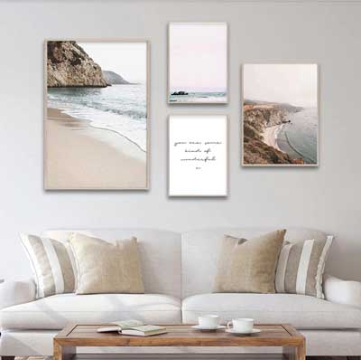 Coastal Gallery Wall Ideas | FREE USA SHIPPING | www.wallart.biz