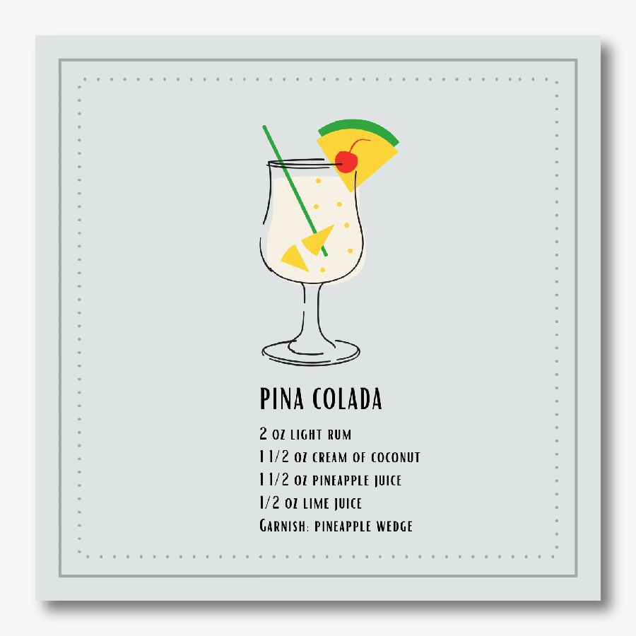 Pina Colada Cocktail Wall Art Print | FREE USA SHIPPING | www.WallArt.Biz