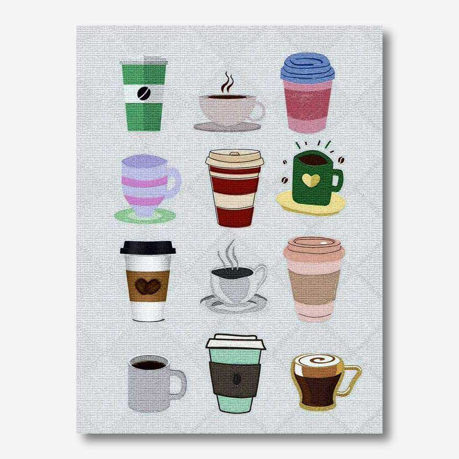 Coffee Mugs painted on canvas  | FREE USA SHIPPING | www.WallArt.Biz