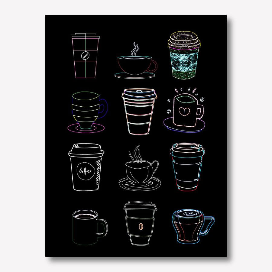 Coffee Cups wall art illustrations | FREE USA SHIPPING | www.WallArt.Biz