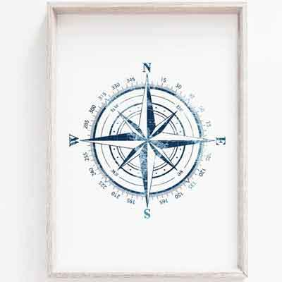 Compass nursery wall art - free usa shipping - www.wallart.biz