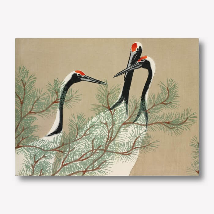 Cranes painting on Canvas by Kamisaka Sekka - | FREE USA SHIPPING | WallArt.Biz