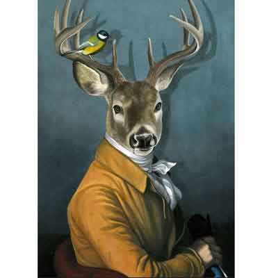 Deer dressed as human art | Free USA Shipping | www.wallart.biz