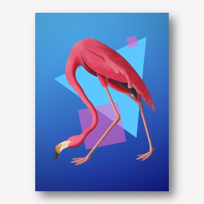 Flamingo geometric blue  | FREE USA SHIPPING | WWW.WALLART.BIZ