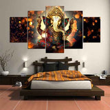Ganesha Painting | 5-panel Canvas Print | www.wallart.biz