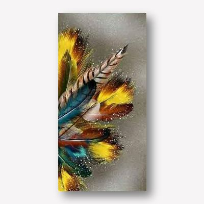 Large Living Room Wall Art | Golden Feathers on Gray Background
