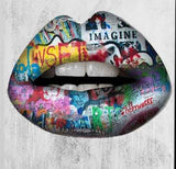 Graffiti Lips Canvas WALL ART | free usa shipping | www.wallart.biz