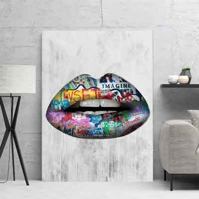 Graffiti Lips Canvas ARTwork | free usa shipping | www.wallart.biz