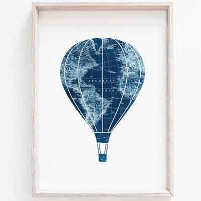 Hot air balloon nursery wall art - free usa shipping - www.wallart.biz