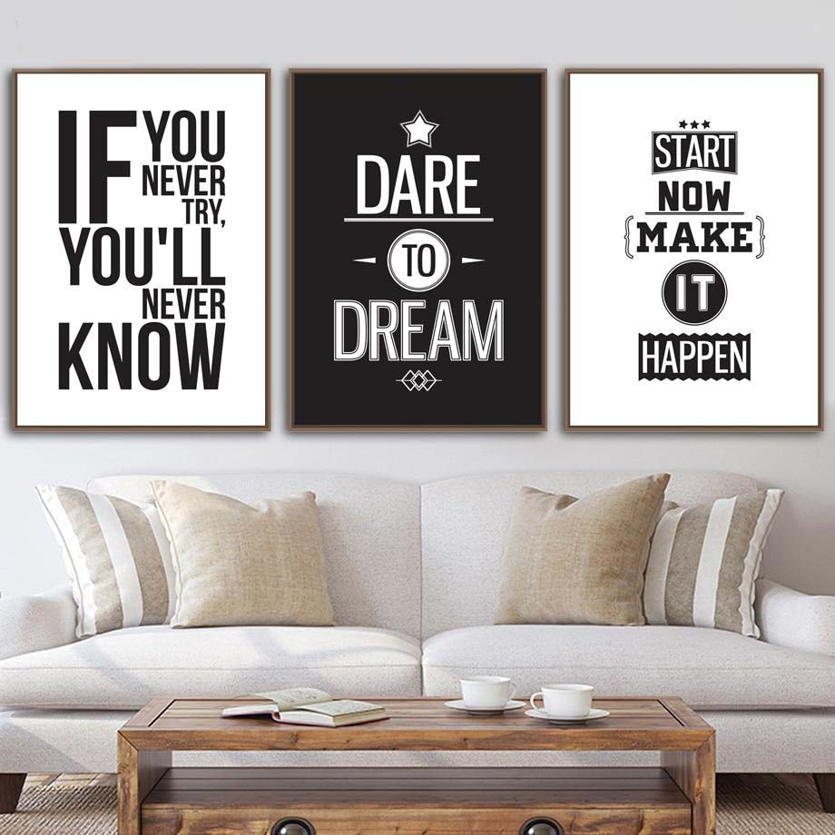 Inspirational quote gallery wall art