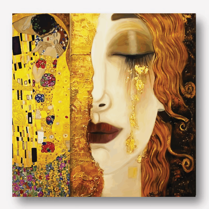 Gustav Klimt Golden Tears & Kiss Painting | Free USA Shipping| www.wallart.biz